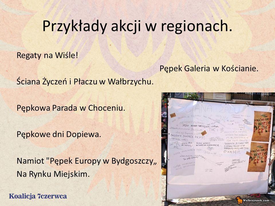 Przykłady akcji w regionach. Regaty na Wiśle. Pępek Galeria w Kościanie.