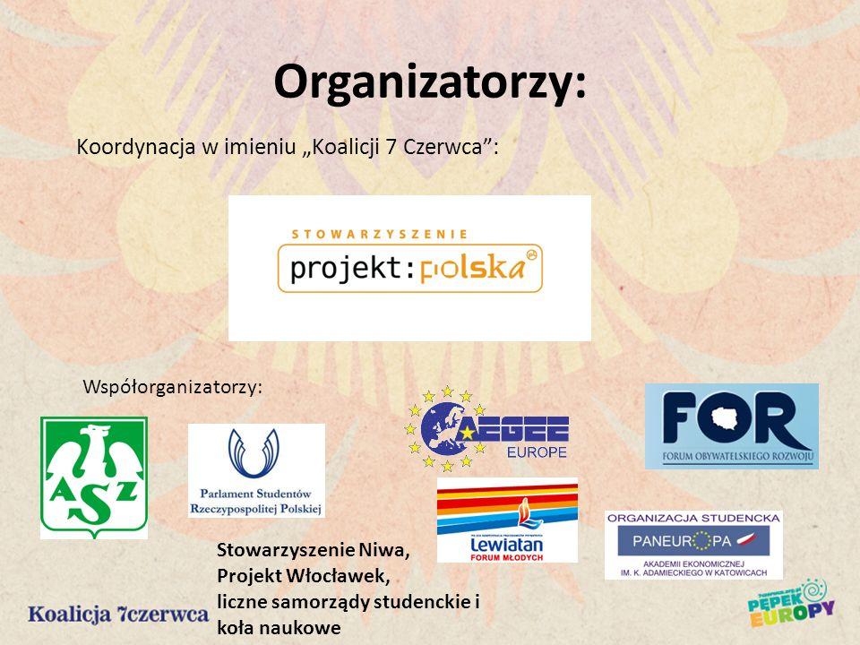 Organizatorzy: Koordynacja w imieniu Koalicji 7 Czerwca: Współorganizatorzy: Stowarzyszenie Niwa, Projekt Włocławek, liczne samorządy studenckie i koł