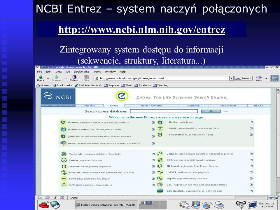NCBI Entrez – system naczyń połączonych http:://www.ncbi.nlm.nih.gov/entrez Zintegrowany system dostępu do informacji (sekwencje, struktury, literatur