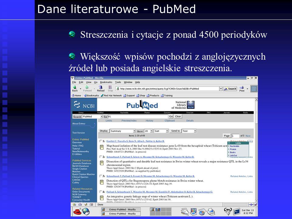 Dane literaturowe - PubMed Większość wpisów pochodzi z anglojęzycznych źródeł lub posiada angielskie streszczenia. Streszczenia i cytacje z ponad 4500