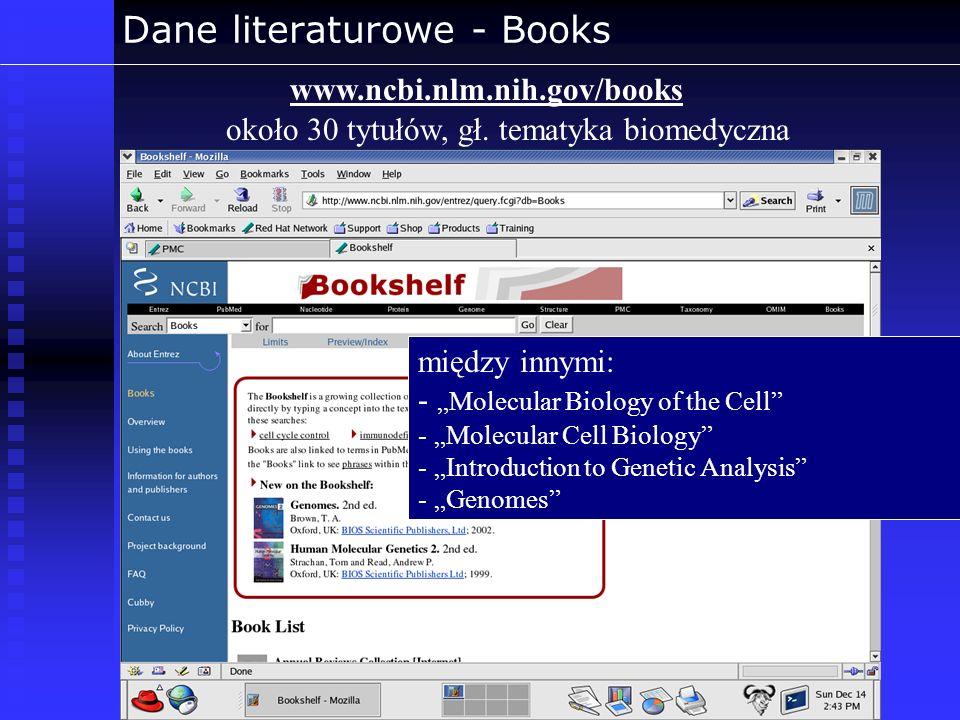 Dane literaturowe - Books www.ncbi.nlm.nih.gov/books około 30 tytułów, gł. tematyka biomedyczna między innymi: - Molecular Biology of the Cell - Molec