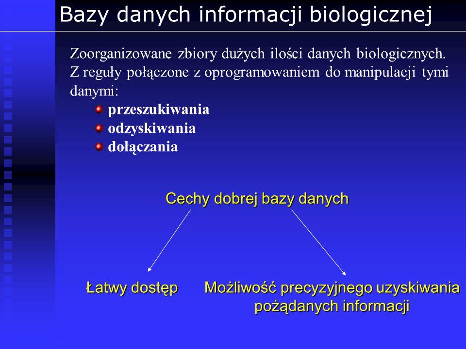 Bazy danych informacji biologicznej Bioinformatyczne bazy danych Secondary -poświęcone konkretnemu organizmowi (TAIR) lub danym (UniGene, dbSNP) - tworzone automatycznie (NCBI UniGene) lub nadzorowane (NCBI RefSeq) Primary - zautomatyzowane - zbieranie rekordów bezpośrednio z badań NCBI, DDBJ, EMBL