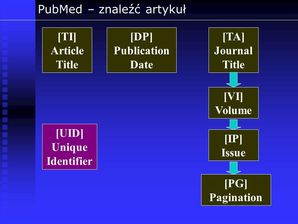 PubMed – znaleźć artykuł [TA] Journal Title [TI] Article Title [DP] Publication Date [VI] Volume [IP] Issue [PG] Pagination [UID] Unique Identifier