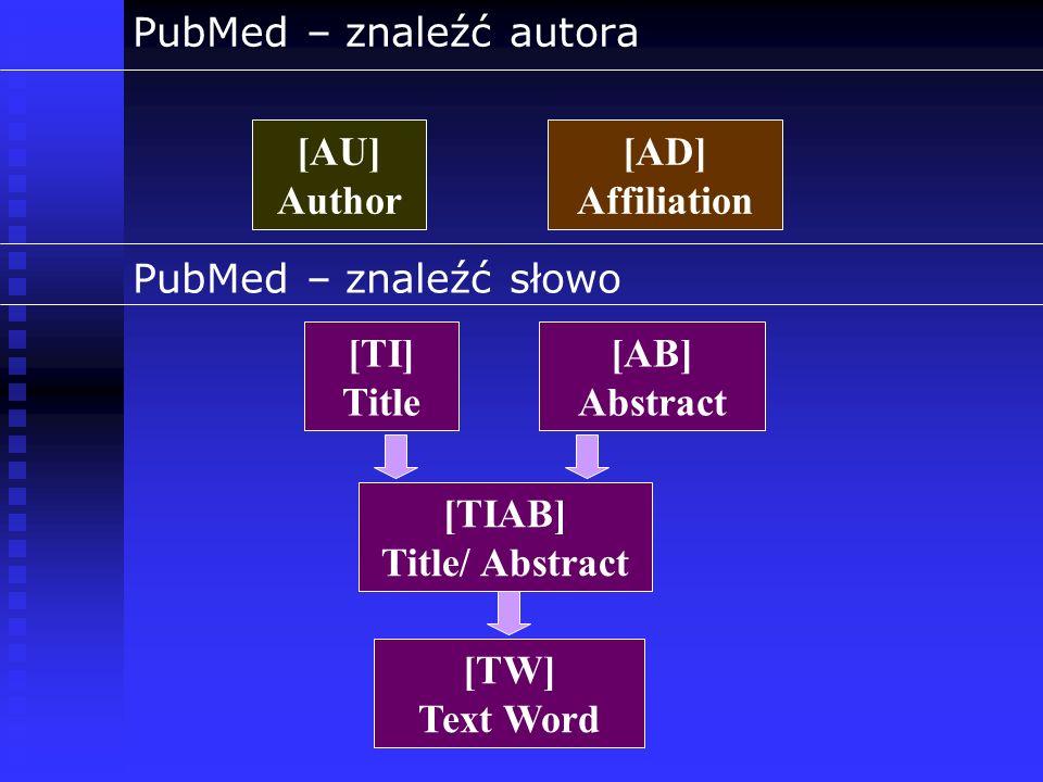 PubMed – znaleźć autora [AU] Author [AD] Affiliation PubMed – znaleźć słowo [TI] Title [TIAB] Title/ Abstract [TW] Text Word [AB] Abstract