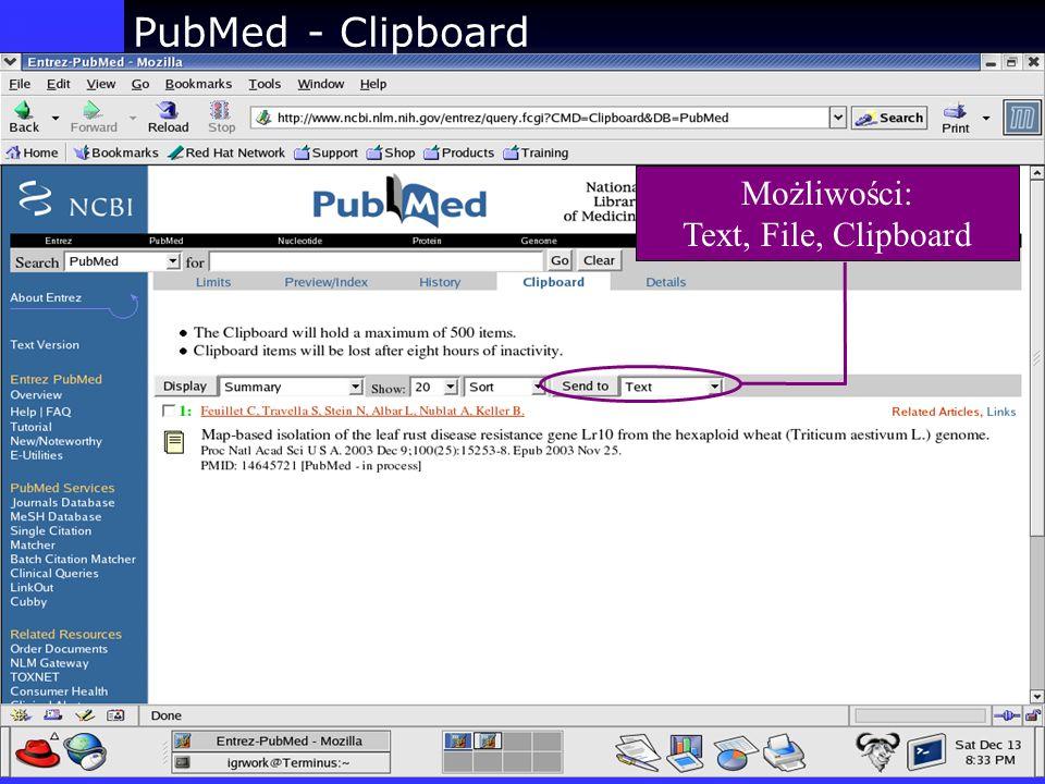 PubMed - Clipboard Możliwości: Text, File, Clipboard
