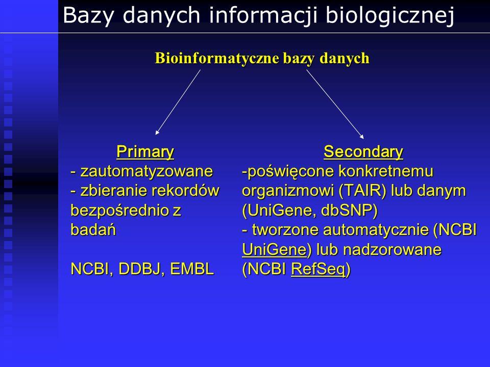 Bazy danych informacji biologicznej Bioinformatyczne bazy danych Secondary -poświęcone konkretnemu organizmowi (TAIR) lub danym (UniGene, dbSNP) - two