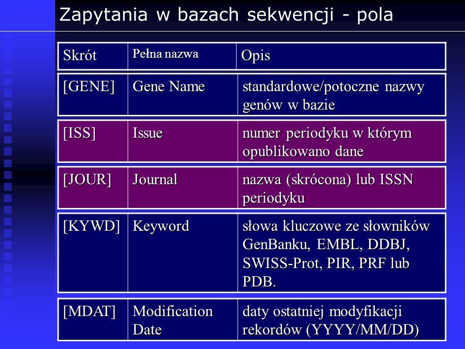 Zapytania w bazach sekwencji - polaSkrót Pełna nazwa Opis [GENE] Gene Name standardowe/potoczne nazwy genów w bazie [ISS]Issue numer periodyku w który