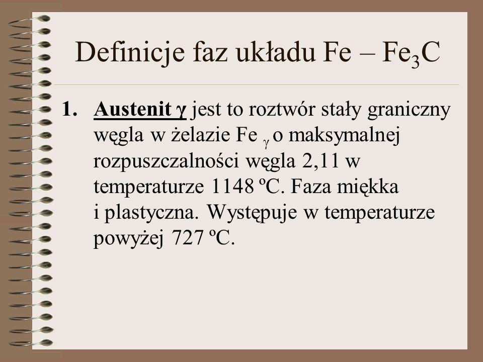Definicje faz układu Fe – Fe 3 C Cementyt Fe 3 C jest to faza międzymetaliczna (węglik żelaza) o wzorze stechiometrycznym Fe 3 C.