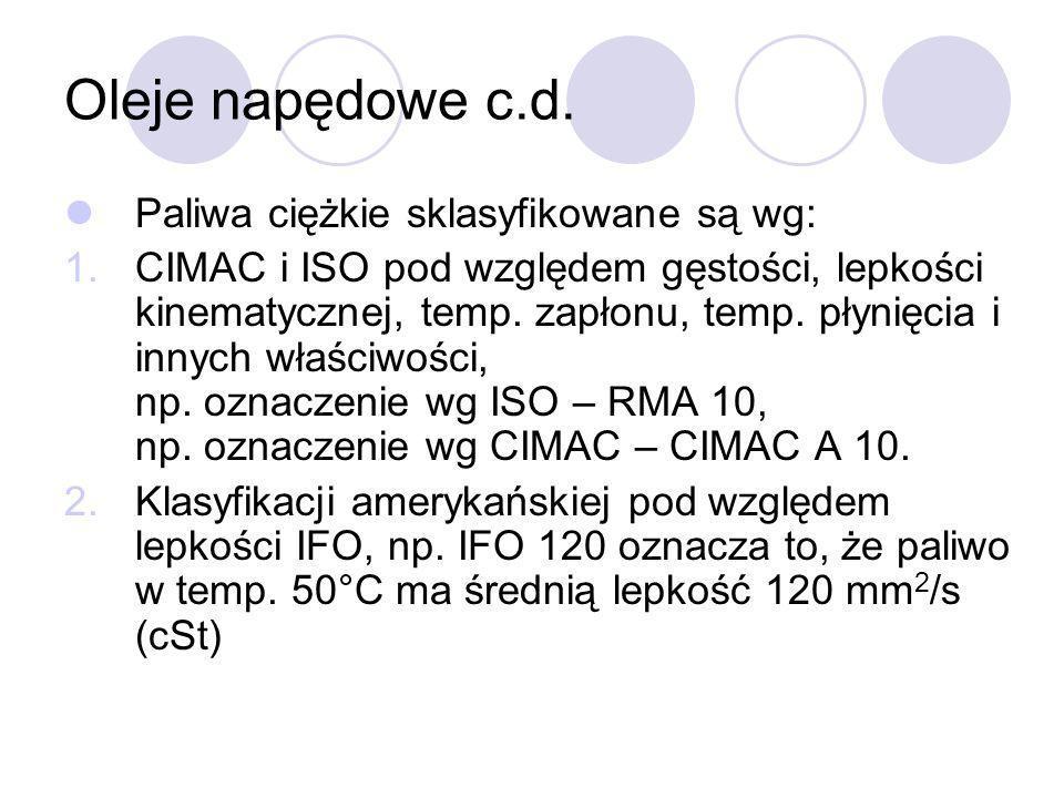 Oleje napędowe c.d. Paliwa ciężkie sklasyfikowane są wg: 1.CIMAC i ISO pod względem gęstości, lepkości kinematycznej, temp. zapłonu, temp. płynięcia i