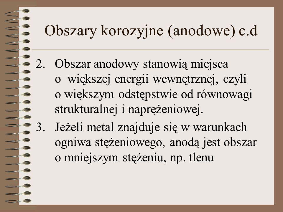 Obszary korozyjne (anodowe) c.d 2.Obszar anodowy stanowią miejsca o większej energii wewnętrznej, czyli o większym odstępstwie od równowagi struktural