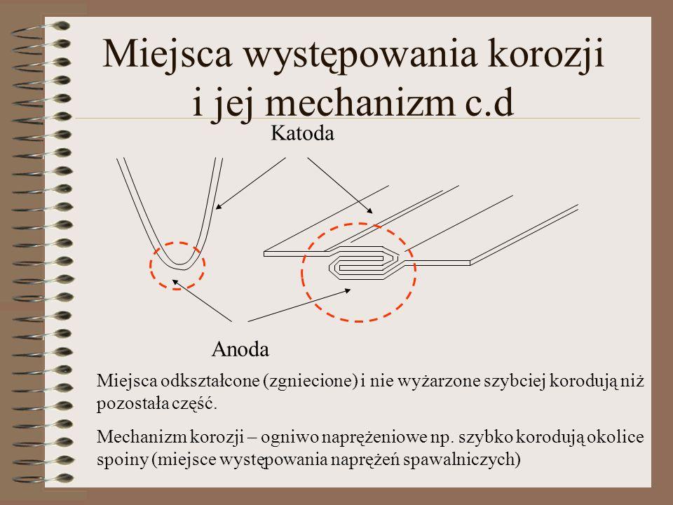 Miejsca występowania korozji i jej mechanizm c.d Katoda Anoda Miejsca odkształcone (zgniecione) i nie wyżarzone szybciej korodują niż pozostała część.