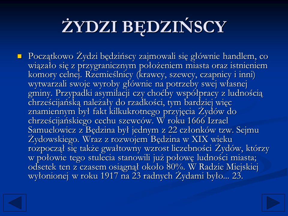ŻYDZI BĘDZIŃSCY Początkowo Żydzi będzińscy zajmowali się głównie handlem, co wiązało się z przygranicznym położeniem miasta oraz istnieniem komory cel