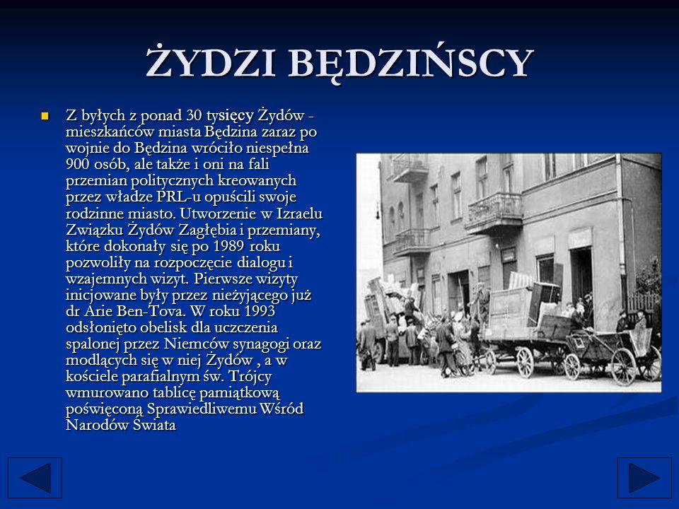 Z byłych z ponad 30 ty sięcy Żydów - mieszkańców miasta Będzina zaraz po wojnie do Będzina wróciło niespełna 900 osób, ale także i oni na fali przemia