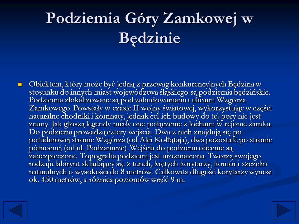 Podziemia Góry Zamkowej w Będzinie Obiektem, który może być jedną z przewag konkurencyjnych Będzina w stosunku do innych miast województwa śląskiego s