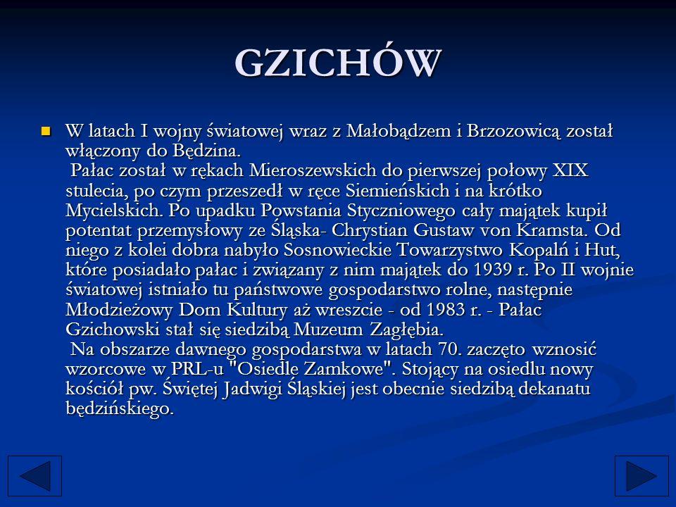GZICHÓW W latach I wojny światowej wraz z Małobądzem i Brzozowicą został włączony do Będzina. Pałac został w rękach Mieroszewskich do pierwszej połowy