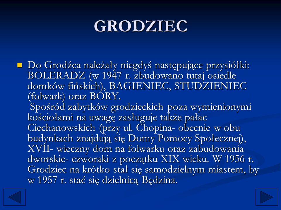 GRODZIEC Do Grodźca należały niegdyś następujące przysiółki: BOLERADZ (w 1947 r. zbudowano tutaj osiedle domków fińskich), BAGIENIEC, STUDZIENIEC (fol