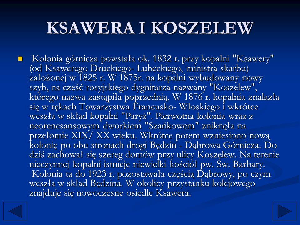 KSAWERA I KOSZELEW Kolonia górnicza powstała ok. 1832 r. przy kopalni