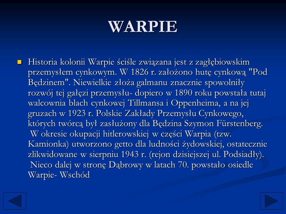 WARPIE Historia kolonii Warpie ściśle związana jest z zagłębiowskim przemysłem cynkowym. W 1826 r. założono hutę cynkową