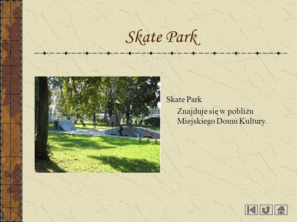 Skate Park Znajduje się w pobliżu Miejskiego Domu Kultury. Skate Park