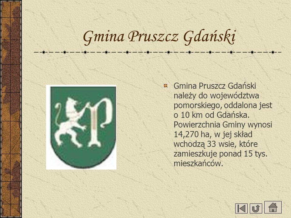 Gmina Pruszcz Gdański Gmina Pruszcz Gdański należy do województwa pomorskiego, oddalona jest o 10 km od Gdańska. Powierzchnia Gminy wynosi 14,270 ha,