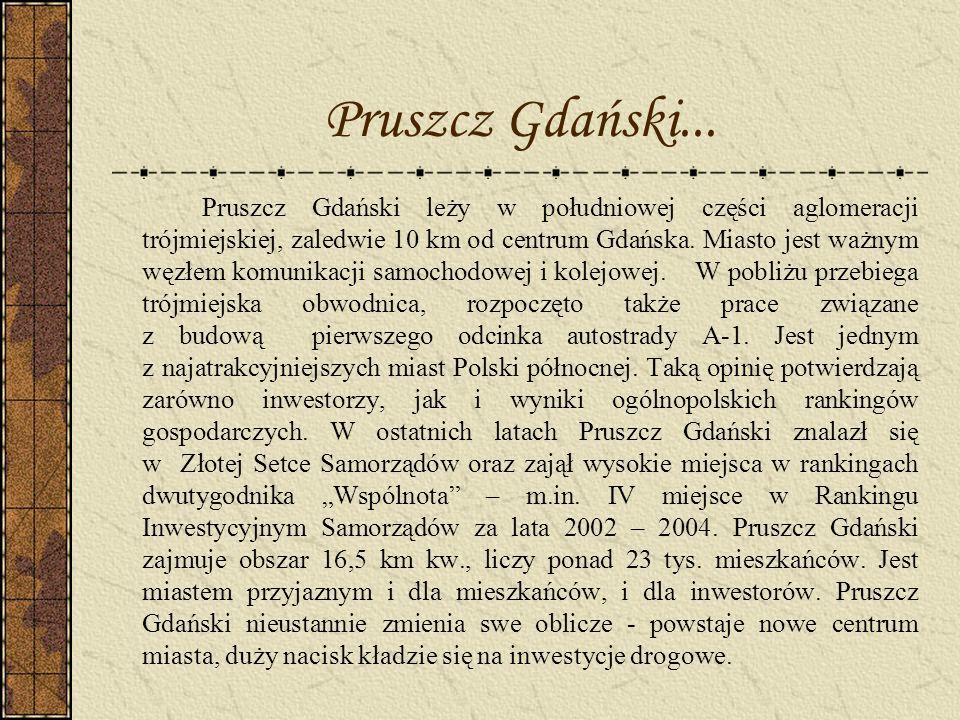 Pruszcz Gdański... Pruszcz Gdański leży w południowej części aglomeracji trójmiejskiej, zaledwie 10 km od centrum Gdańska. Miasto jest ważnym węzłem k