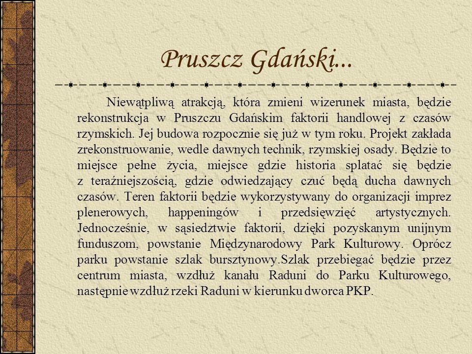 Niewątpliwą atrakcją, która zmieni wizerunek miasta, będzie rekonstrukcja w Pruszczu Gdańskim faktorii handlowej z czasów rzymskich. Jej budowa rozpoc