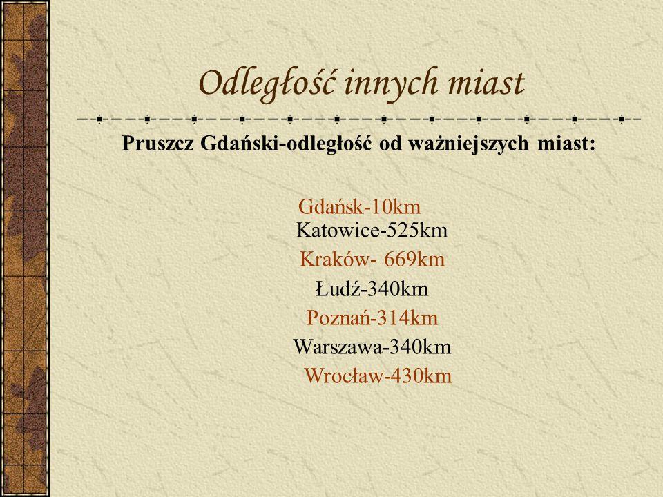 Pruszcz Gdański-odległość od ważniejszych miast: Gdańsk-10km Katowice-525km Kraków- 669km Łudź-340km Poznań-314km Warszawa-340km Wrocław-430km Odległo