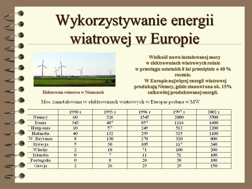 Wykorzystywanie energii wiatrowej w Europie Elektrownia wiatrowa w Niemczech Wielkość nowo instalowanej mocy w elektrowniach wiatrowych rośnie w przec