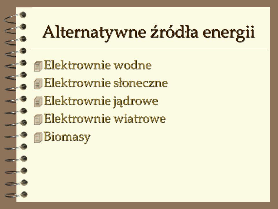 Alternatywne źródła energii 4 Elektrownie wodne 4 Elektrownie słoneczne 4 Elektrownie jądrowe 4 Elektrownie wiatrowe 4 Biomasy
