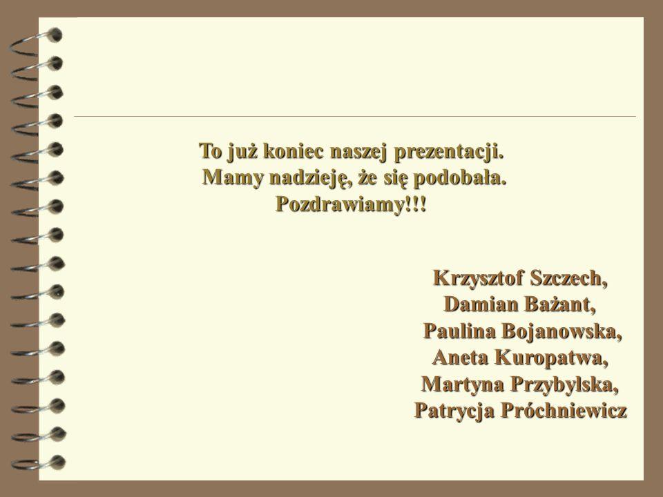 To już koniec naszej prezentacji. Mamy nadzieję, że się podobała. Pozdrawiamy!!! Krzysztof Szczech, Damian Bażant, Paulina Bojanowska, Aneta Kuropatwa
