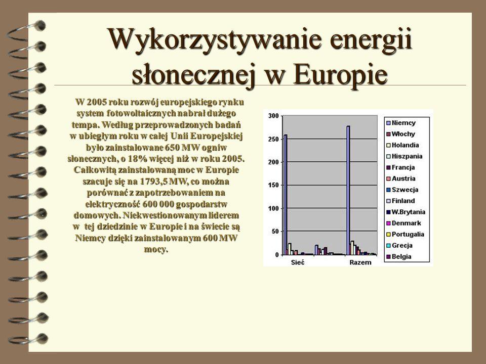Wykorzystywanie energii słonecznej w Europie W 2005 roku rozwój europejskiego rynku system fotowoltaicznych nabrał dużego tempa. Według przeprowadzony
