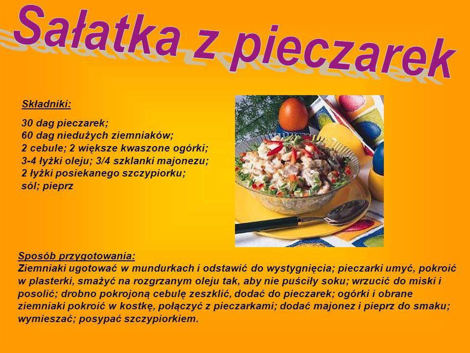 Składniki: kaczka; sól; majeranek; czosnek; 2 dag tłuszczu; cebula; 30 dag pieczarek lub innych grzybów; zielenina Sposób przygotowania: Oczyszczoną k