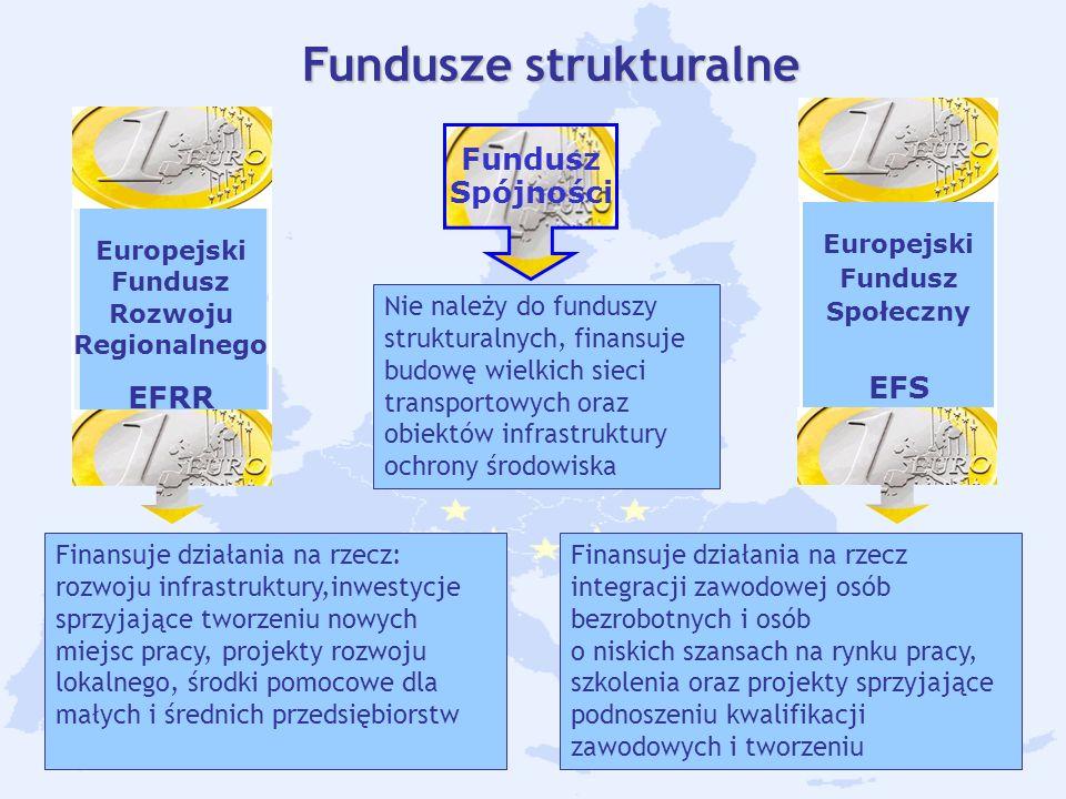 17 Fundusze strukturalne Europejski Fundusz Rozwoju Regionalnego EFRR Fundusz Spójności Europejski Fundusz Społeczny EFS Finansuje działania na rzecz: rozwoju infrastruktury,inwestycje sprzyjające tworzeniu nowych miejsc pracy, projekty rozwoju lokalnego, środki pomocowe dla małych i średnich przedsiębiorstw.