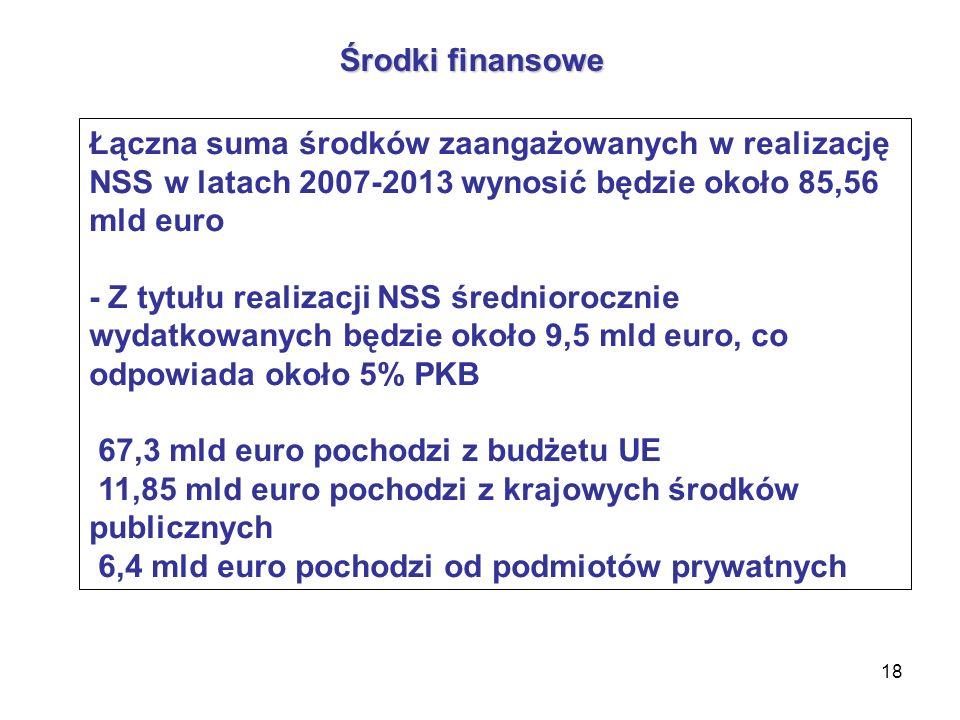 18 Środki finansowe Łączna suma środków zaangażowanych w realizację NSS w latach 2007-2013 wynosić będzie około 85,56 mld euro - Z tytułu realizacji NSS średniorocznie wydatkowanych będzie około 9,5 mld euro, co odpowiada około 5% PKB 67,3 mld euro pochodzi z budżetu UE 11,85 mld euro pochodzi z krajowych środków publicznych 6,4 mld euro pochodzi od podmiotów prywatnych