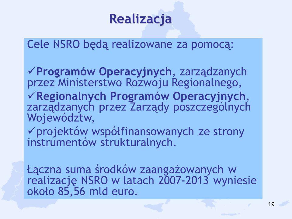 19 Cele NSRO będą realizowane za pomocą: Programów Operacyjnych, zarządzanych przez Ministerstwo Rozwoju Regionalnego, Regionalnych Programów Operacyjnych, zarządzanych przez Zarządy poszczególnych Województw, projektów współfinansowanych ze strony instrumentów strukturalnych.