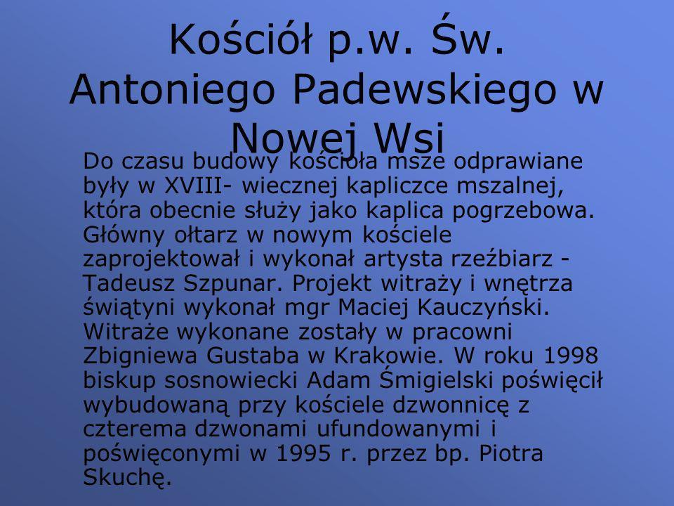 Kościół p.w. Św. Antoniego Padewskiego w Nowej Wsi Do czasu budowy kościoła msze odprawiane były w XVIII- wiecznej kapliczce mszalnej, która obecnie s