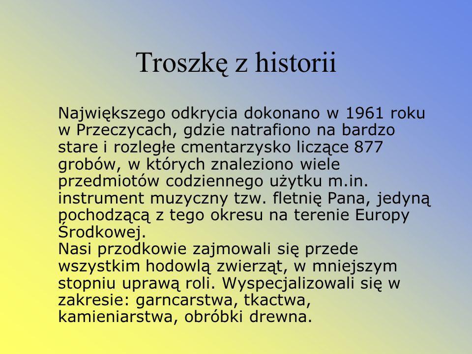 Troszkę z historii Największego odkrycia dokonano w 1961 roku w Przeczycach, gdzie natrafiono na bardzo stare i rozległe cmentarzysko liczące 877 grobów, w których znaleziono wiele przedmiotów codziennego użytku m.in.