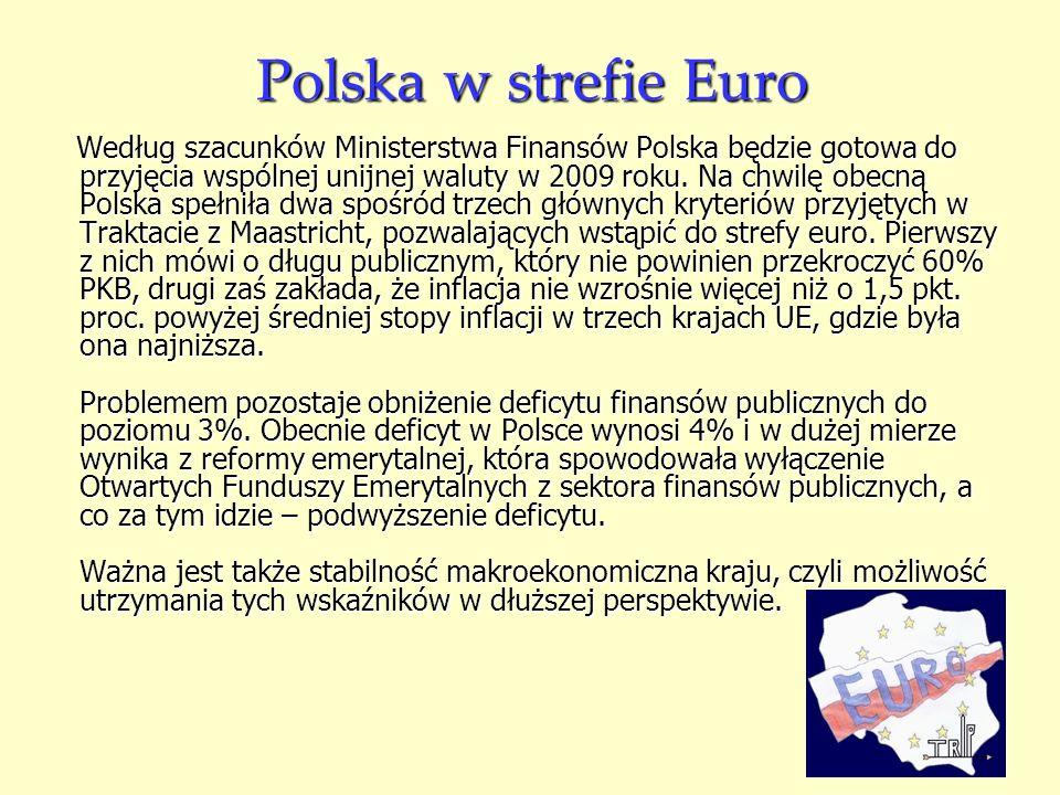 Polska w strefie Euro Według szacunków Ministerstwa Finansów Polska będzie gotowa do przyjęcia wspólnej unijnej waluty w 2009 roku. Na chwilę obecną P