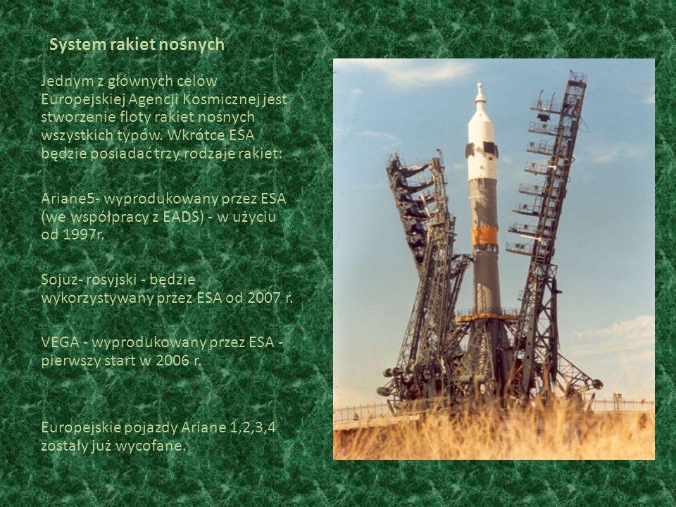 System rakiet nośnych Jednym z głównych celów Europejskiej Agencji Kosmicznej jest stworzenie floty rakiet nośnych wszystkich typów.
