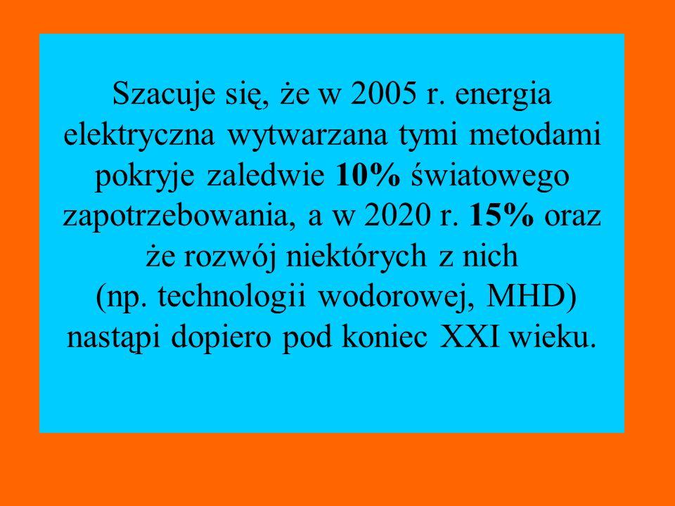 Szacuje się, że w 2005 r. energia elektryczna wytwarzana tymi metodami pokryje zaledwie 10% światowego zapotrzebowania, a w 2020 r. 15% oraz że rozwój