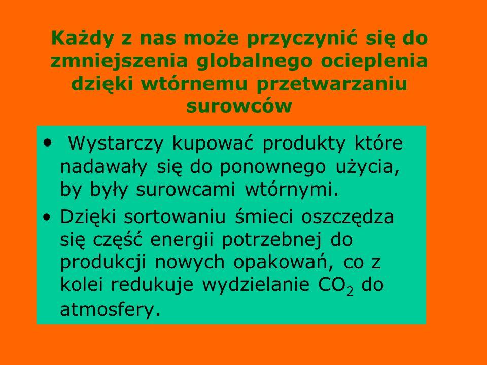 Każdy z nas może przyczynić się do zmniejszenia globalnego ocieplenia dzięki wtórnemu przetwarzaniu surowców Wystarczy kupować produkty które nadawały