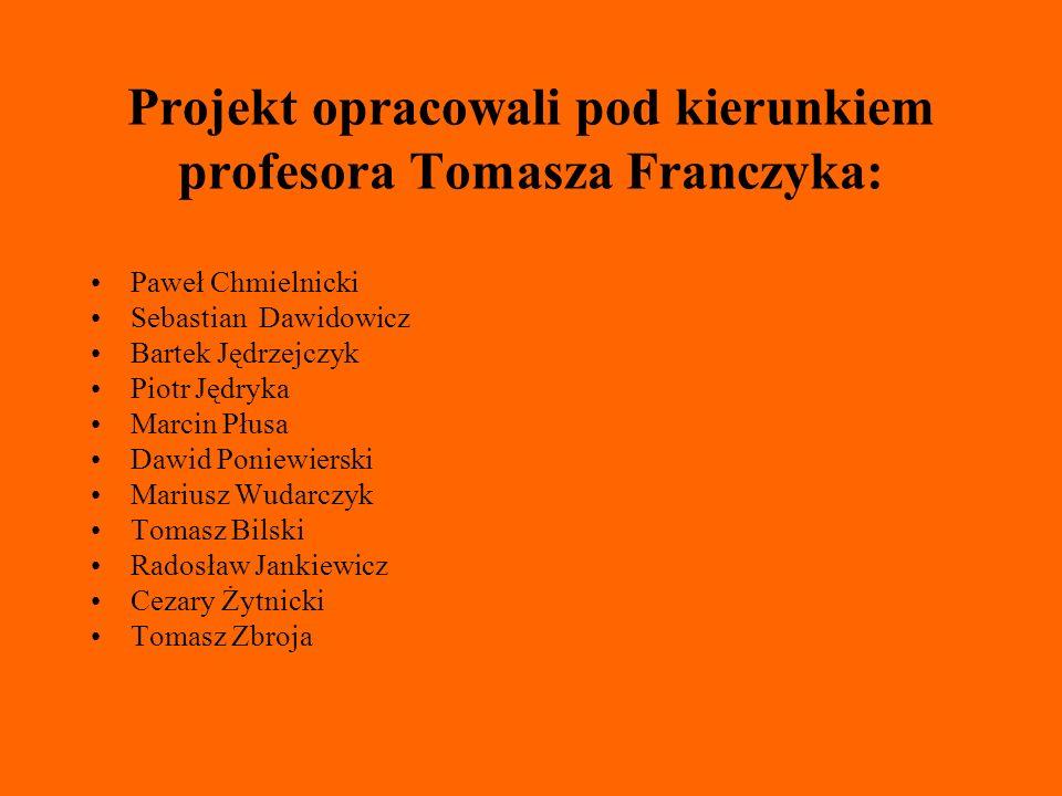 Projekt opracowali pod kierunkiem profesora Tomasza Franczyka: Paweł Chmielnicki Sebastian Dawidowicz Bartek Jędrzejczyk Piotr Jędryka Marcin Płusa Da