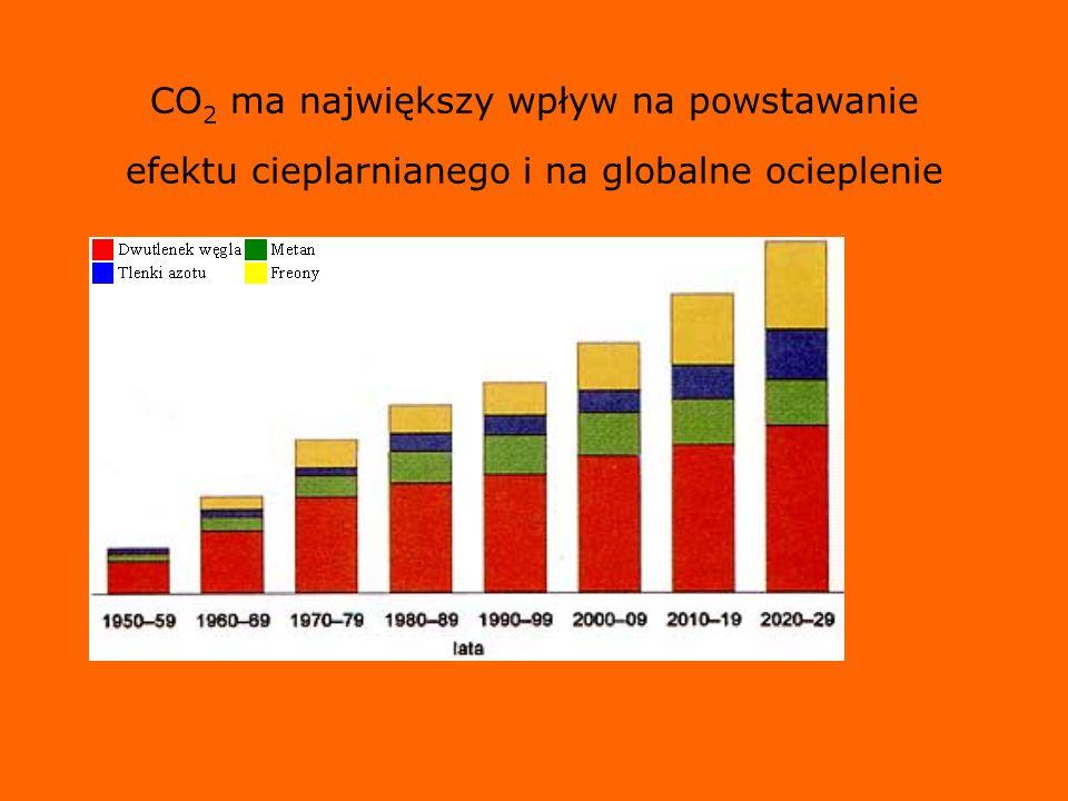 CO 2 ma największy wpływ na powstawanie efektu cieplarnianego i na globalne ocieplenie