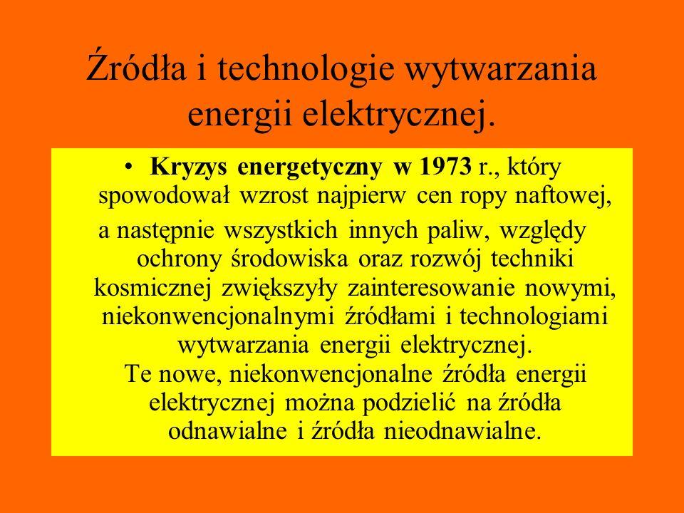 Źródła i technologie wytwarzania energii elektrycznej. Kryzys energetyczny w 1973 r., który spowodował wzrost najpierw cen ropy naftowej, a następnie