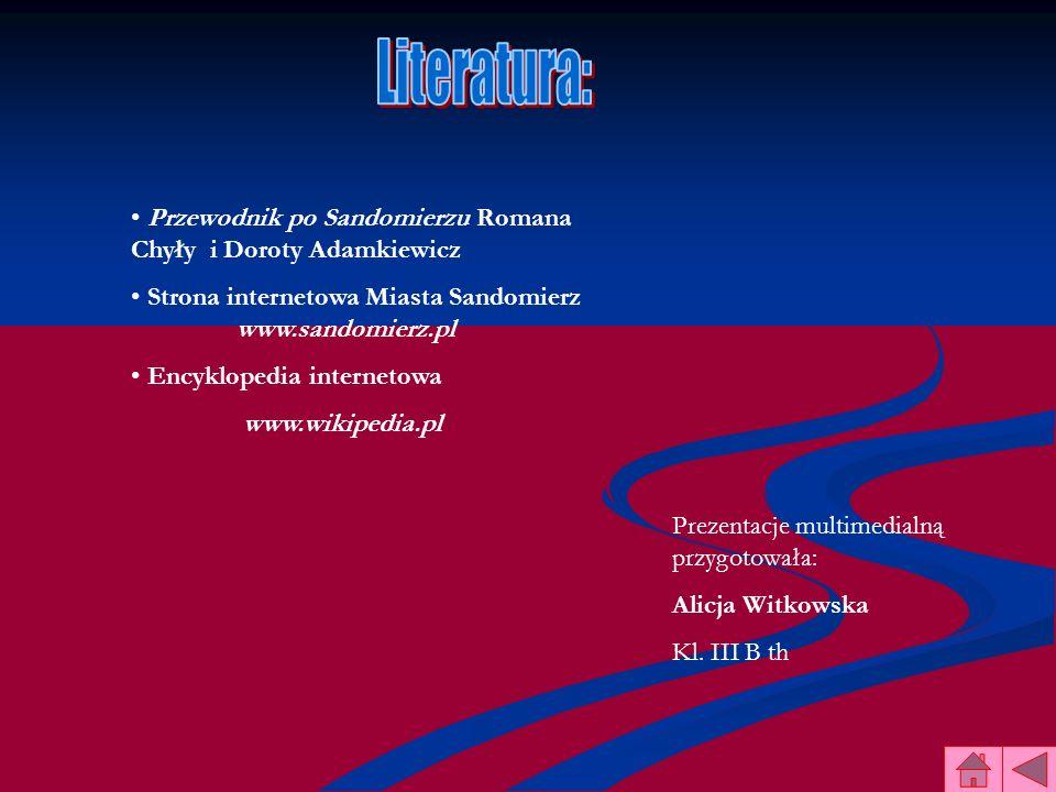 Przewodnik po Sandomierzu Romana Chyły i Doroty Adamkiewicz Strona internetowa Miasta Sandomierz www.sandomierz.pl Encyklopedia internetowa www.wikipe