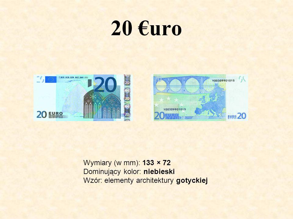 20 uro Wymiary (w mm): 133 × 72 Dominujący kolor: niebieski Wzór: elementy architektury gotyckiej