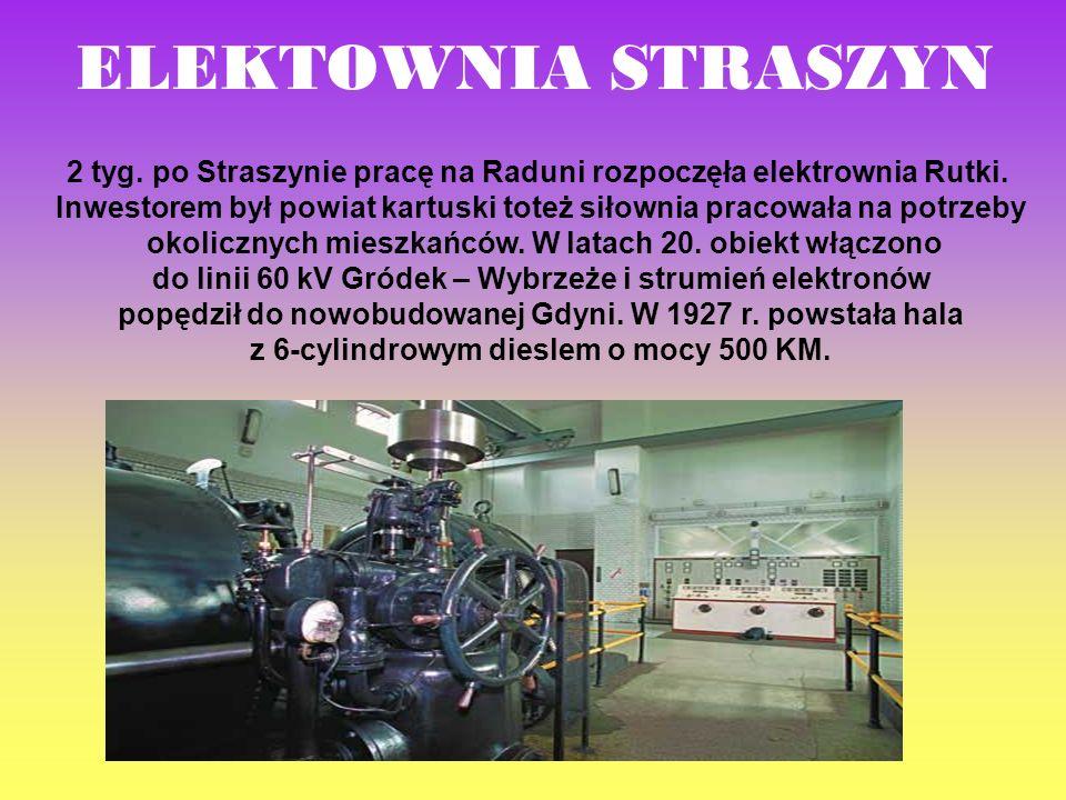 2 tyg. po Straszynie pracę na Raduni rozpoczęła elektrownia Rutki. Inwestorem był powiat kartuski toteż siłownia pracowała na potrzeby okolicznych mie
