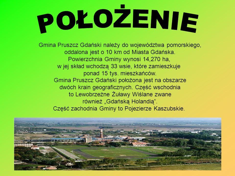 Gmina Pruszcz Gdański należy do województwa pomorskiego, oddalona jest o 10 km od Miasta Gdańska. Powierzchnia Gminy wynosi 14,270 ha, w jej skład wch