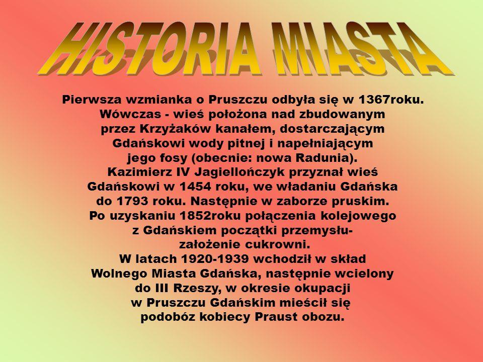 Pierwsza wzmianka o Pruszczu odbyła się w 1367roku. Wówczas - wieś położona nad zbudowanym przez Krzyżaków kanałem, dostarczającym Gdańskowi wody pitn