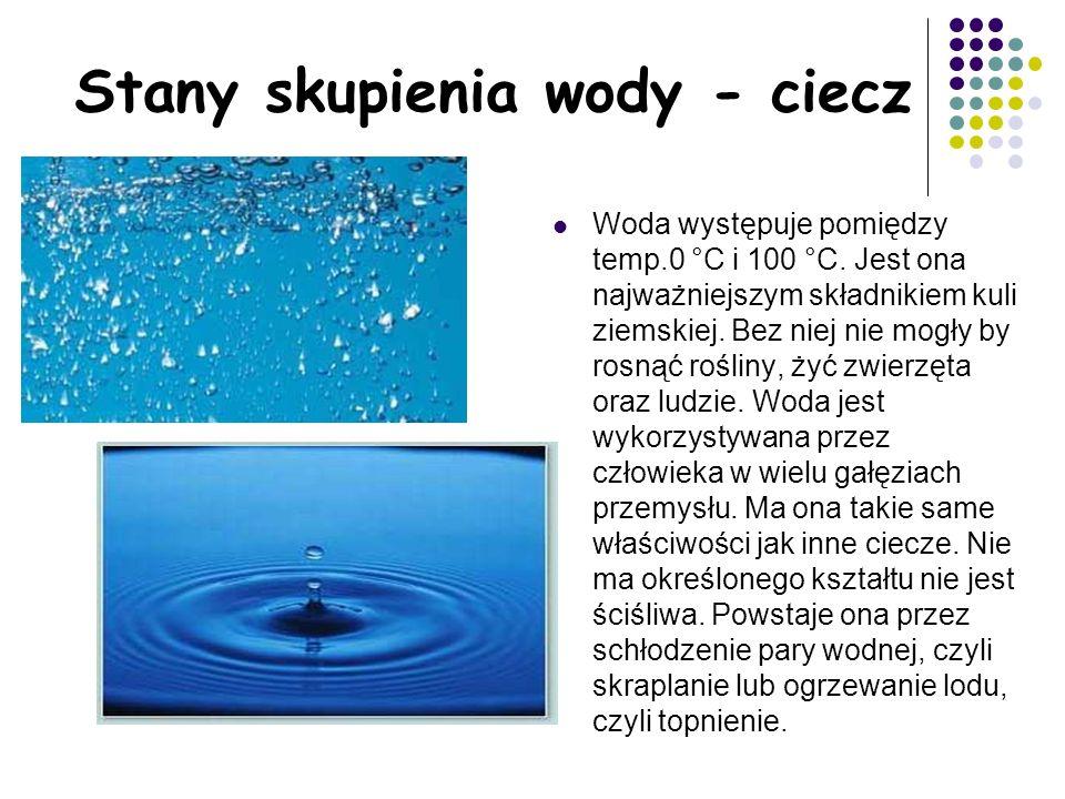 Stany skupienia wody - ciecz Woda występuje pomiędzy temp.0 °C i 100 °C.